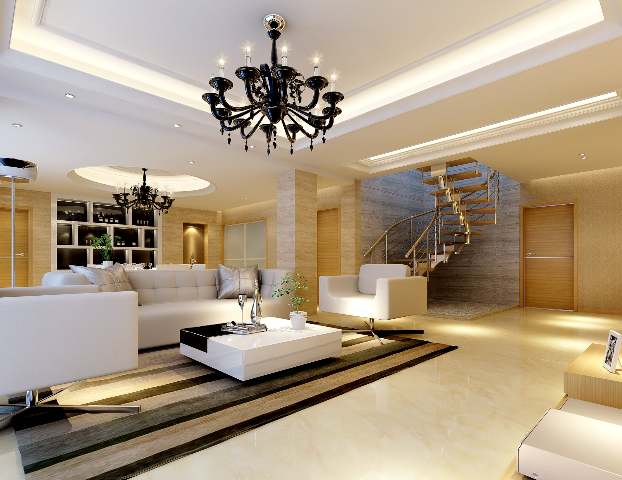 Living Room Model Prepossessing Modern Bright Spacious Living Room Fully Furnished 3D Model Max Design Inspiration