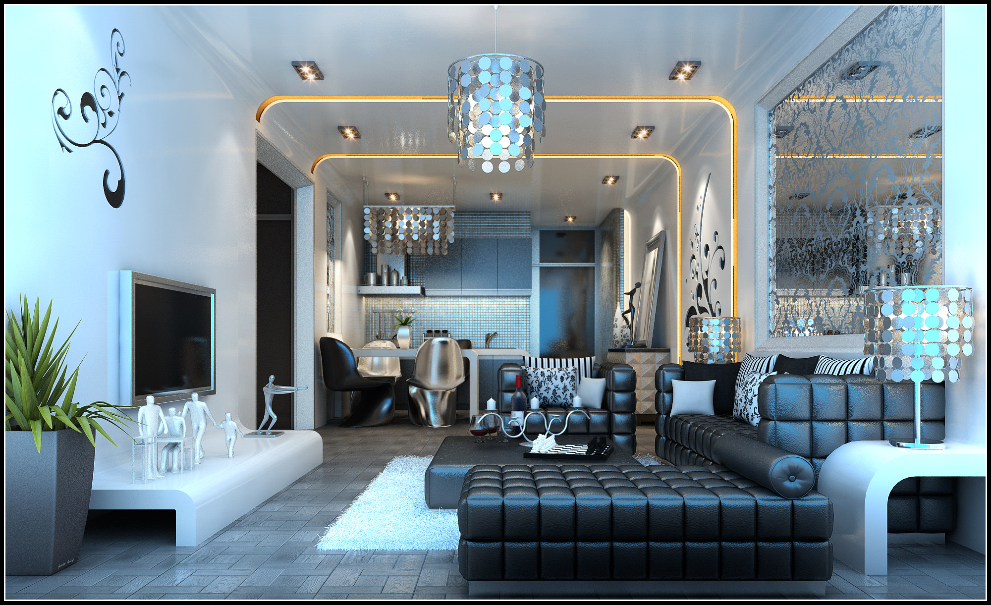 Modern Living Room Fully Furnished And Decorated In Dark Colors 3d Model  Max 1 Part 36
