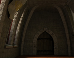 medieval hall with arballista and a tower bridge 3d asset