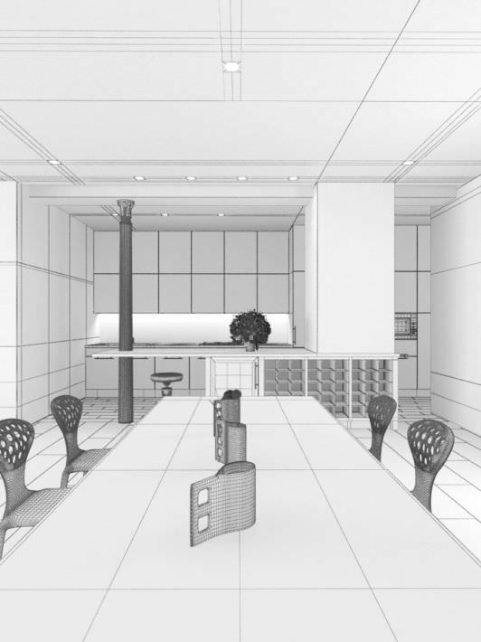 Contemporary Studio Apartment Design: White Modern Studio Apartment 3D Model