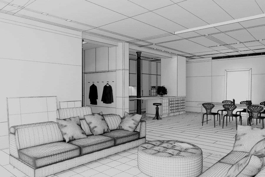 White Modern Studio Apartment   3D model
