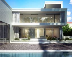 3D Yard Of A Stylish Two Storey House