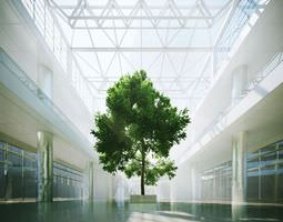 tree in a shopping centre interior 3d model