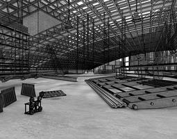 3d model large industrial space with metal constructions