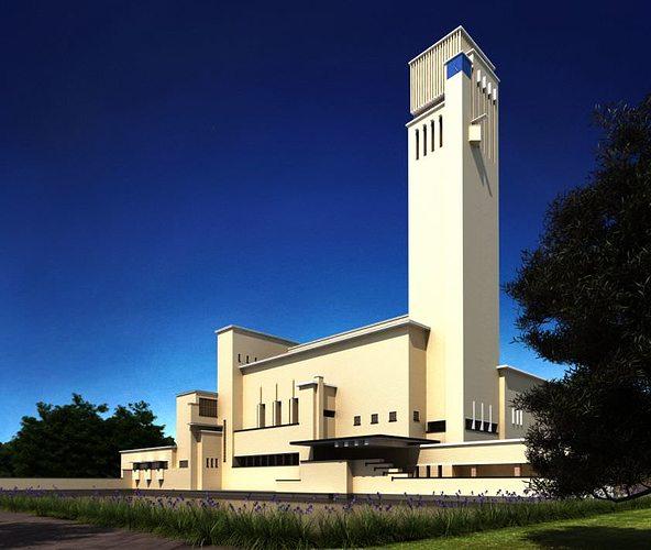 3D Modern Church Tall Building