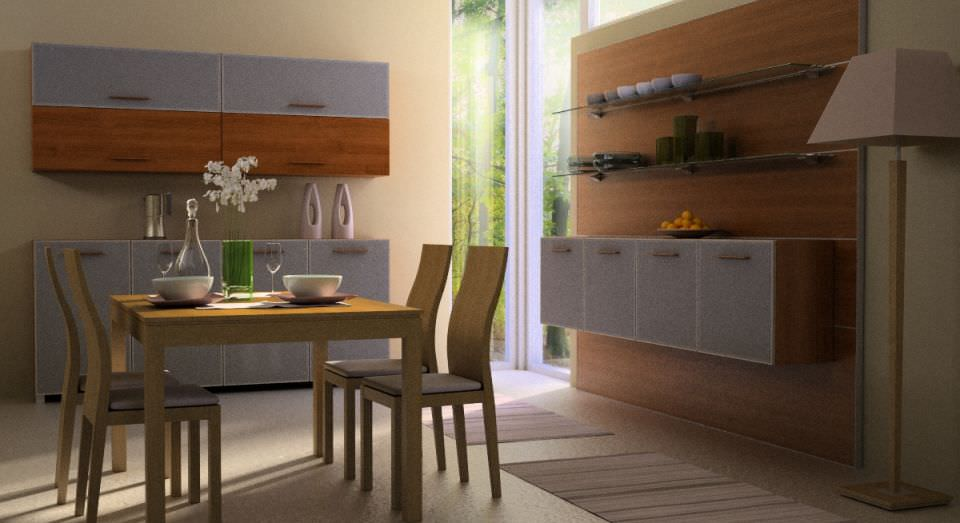 Kitchen dining room 3d model max for Dining room 3d model