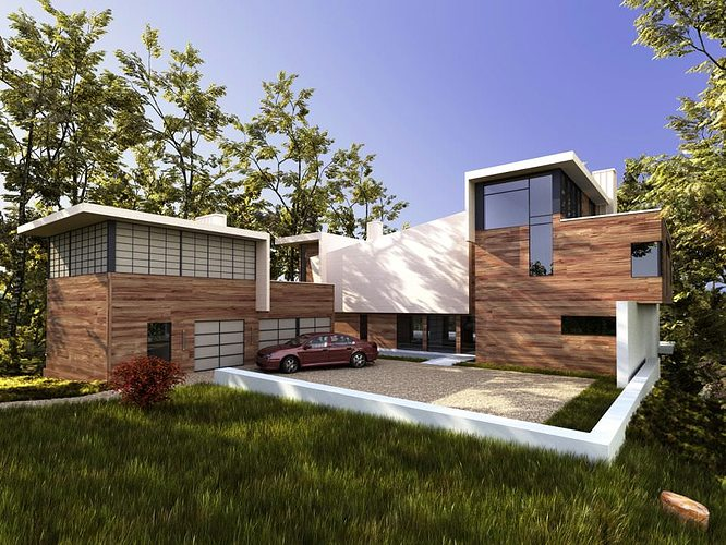 3d wooden modern villa cgtrader for Exterior 3d model