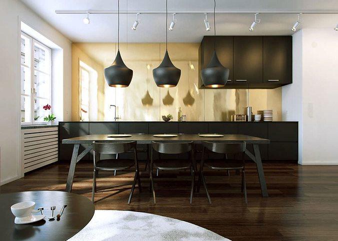 Living Room With Kitchen Interior Design 3d Model Obj Mtl