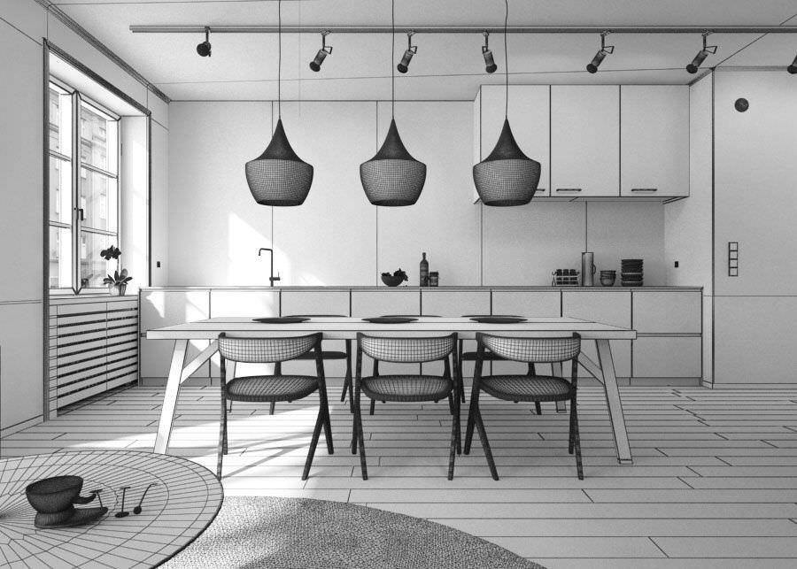 ... Living Room With Kitchen Interior Design 3d Model Obj Mtl 5 ...