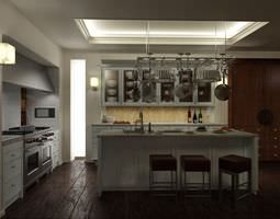 3D model Kitchen With Wooden Flooring