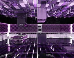futuristic purple kitchen 3d model