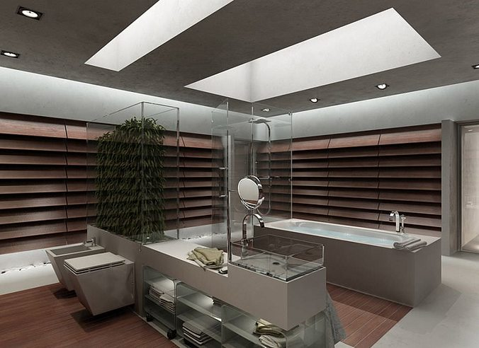 Bathroom modern interior design 3d cgtrader for Bathroom design 3d model