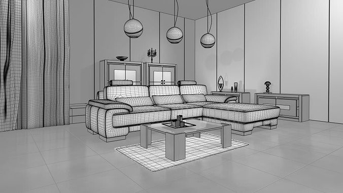 3d living room with modern interior design cgtrader. Black Bedroom Furniture Sets. Home Design Ideas
