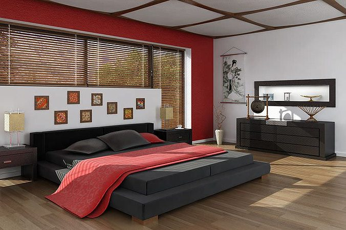 48D Asian Interior Design Bedroom CGTrader Simple 3D Design Bedroom