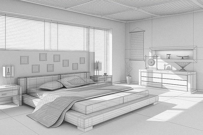 ... asian interior design bedroom 3d model max 2