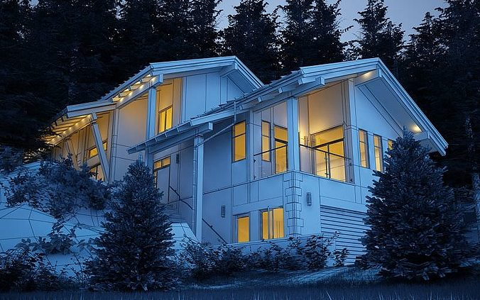 3d Scene Of Modern House Near The Forest Cgtrader