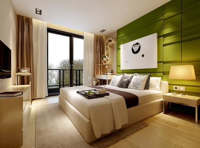 Modern bedroom with green wall 3d cgtrader for Bedroom designs 3d model