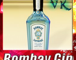 photorealistic bombay sapphire gin bottle 3d model