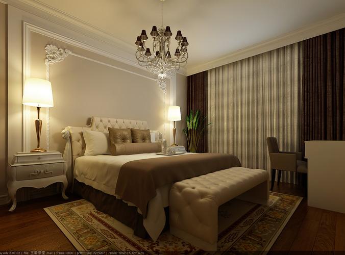 modern brown bedroom 3d model max 1