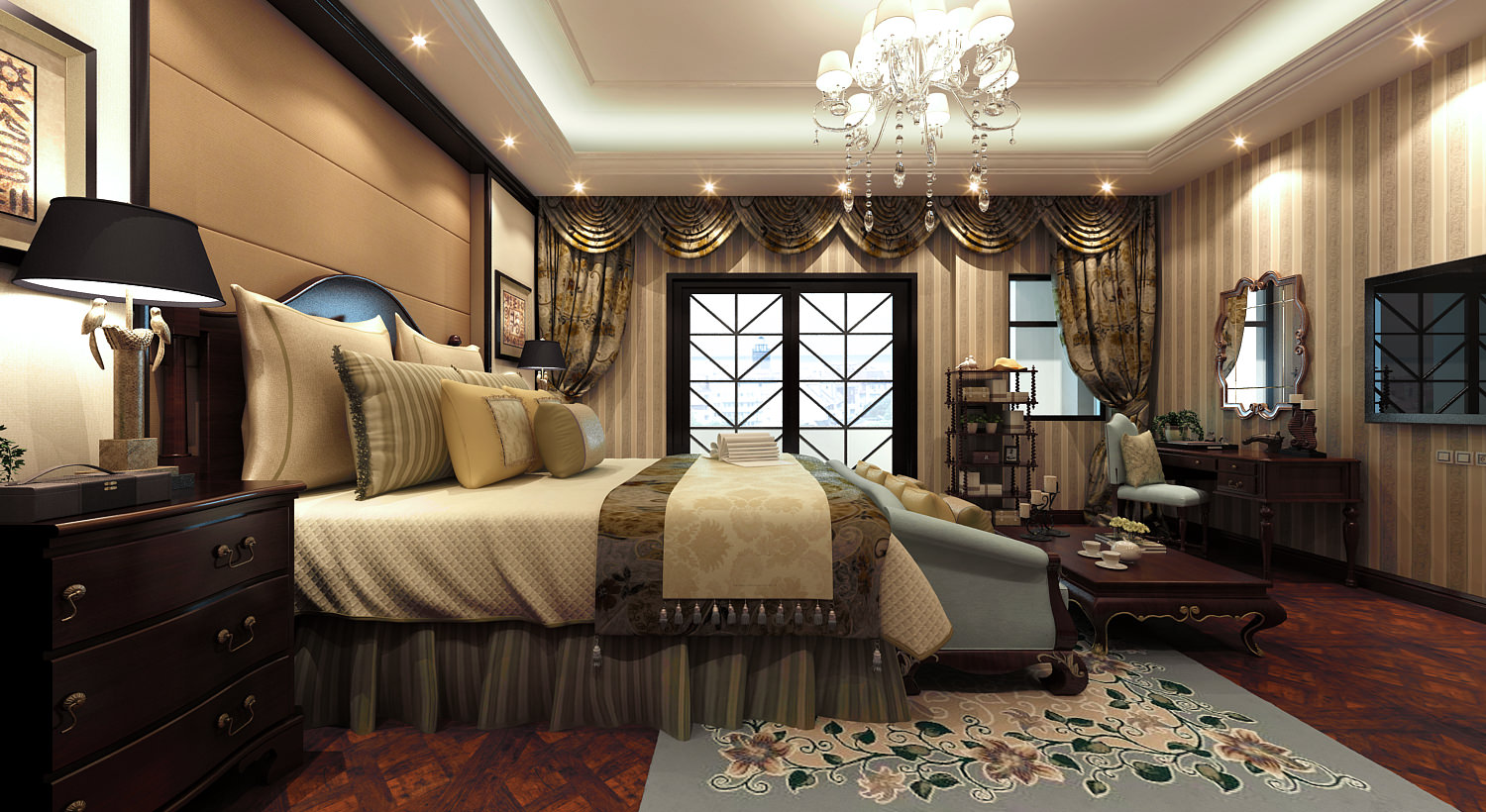 Fully Furnished Luxurious Bedroom With Big 3d Model Max