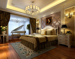 3d model luxurious bedroom  with big bed fully furnished