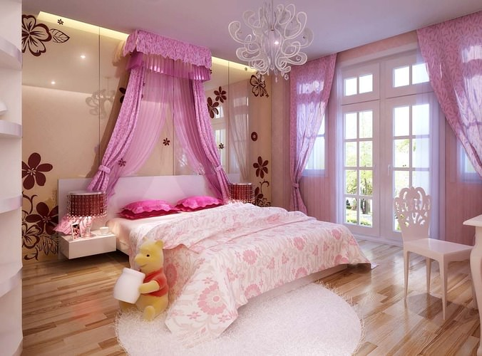 Luxurious Girls Bedroom With Big Bed Fully Furnished 3D model MAX ...