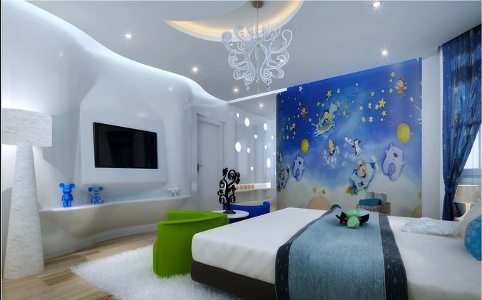 Kids Bedroom With Tv 3d Model Max