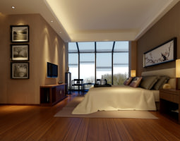 modern bedroom  with wooden floor fully furnished 3d