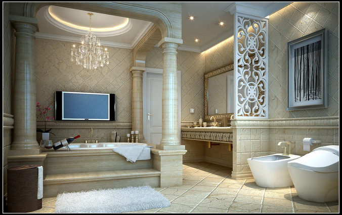 Bathroom 3d Model luxurious bathroom fully furnished and decorated 3d model max