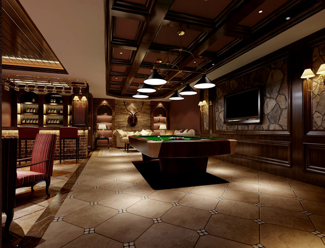 luxurious restaurant interior with pool table 3d model max 1