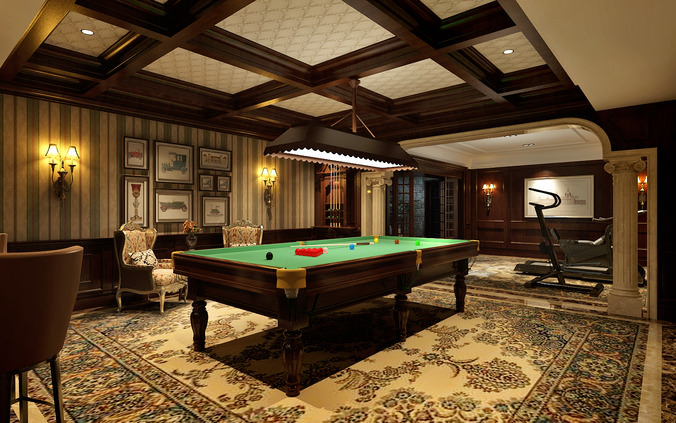 3d billiard room cgtrader for 3d room decoration game