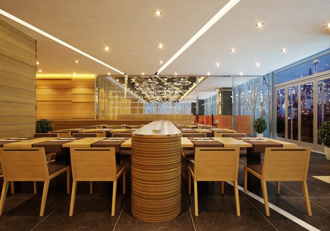 modern restaurant room 3d model max 1