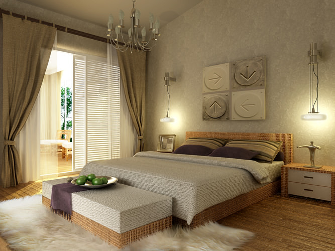 modern bedroom  wooden floor fully furnished  model max