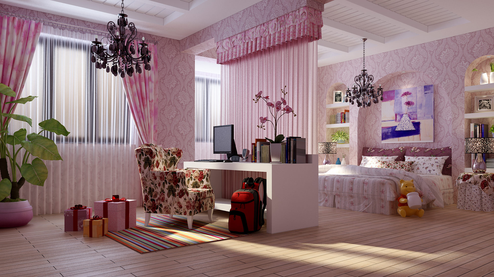 kids bedroom with chair 3d model cgtrader