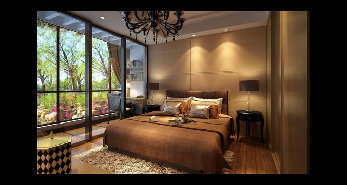 modern brown  bedroom  with wooden floor fully furnished 3d model max 1