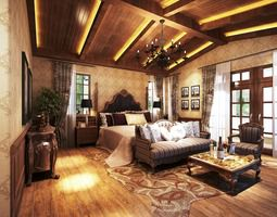 3d modern bedroom  with living room and wooden floor fully furnished