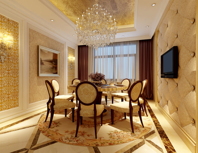 Modern dining room with marble floor fully furnished 3d for Dining room 3d max model