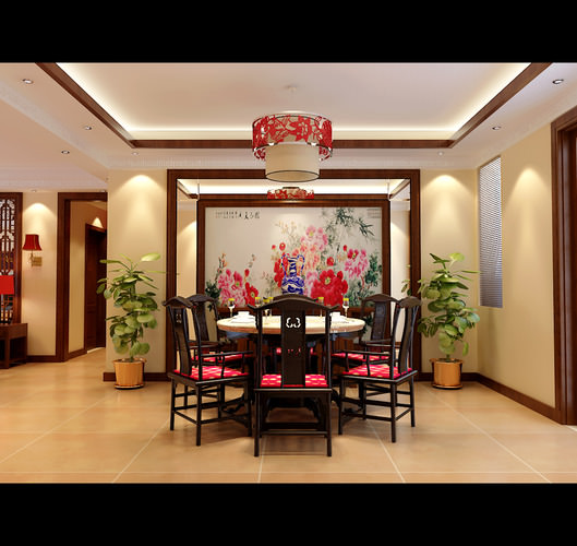 Modern Chinese Style Dining Room Fully Furnished And