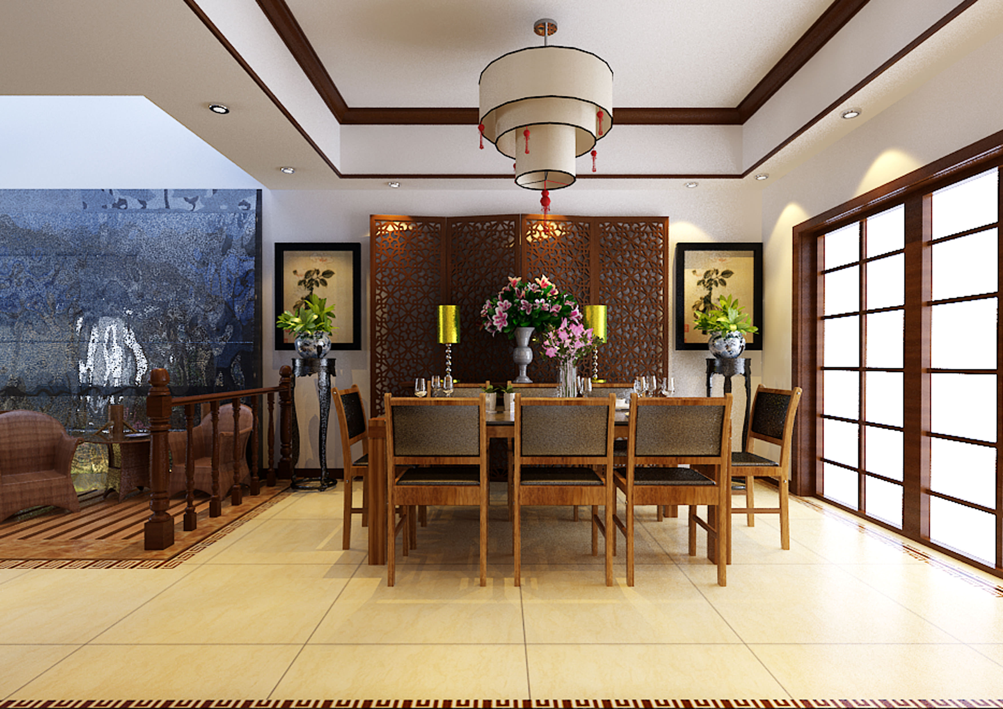 Chinese Style Dining Room Fully Decorated Model Max Tga 1