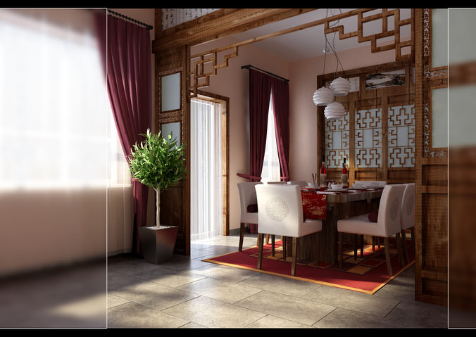 chinese style dining room fully furnished and decorated 3d model max 1