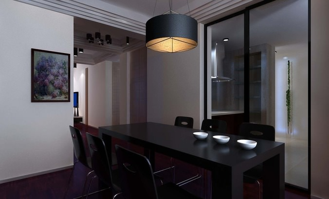 modern fully furnished dining room 3d model max 1