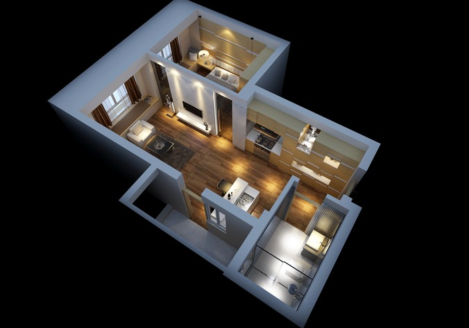 Modern house interior with wooden floor fully furnished 3d for New model house interior design