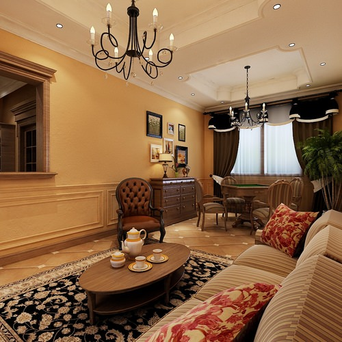 Modern Living Room With Wooden Floor Fully Furnished 3D