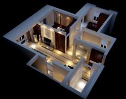 3D model Modern House Interior Fully Furnished