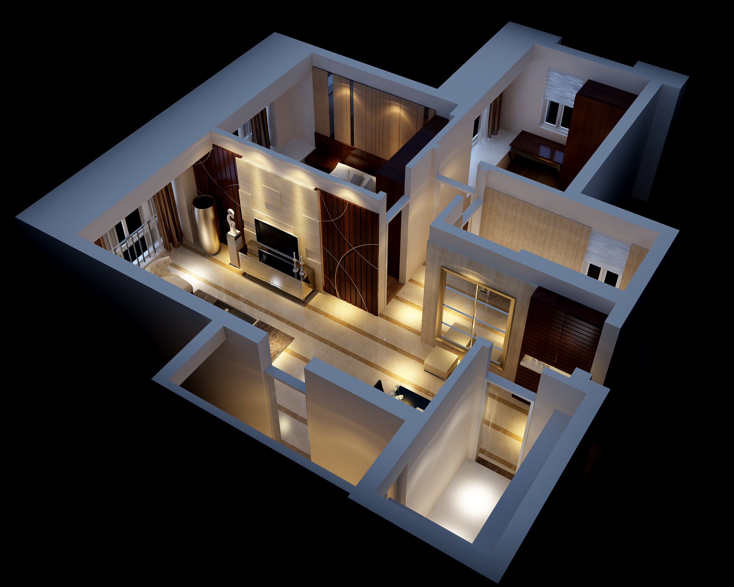 Modern House Interior Fully Furnished 3d Model Max 1