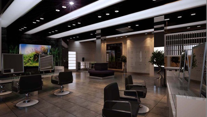 3d modern salon interior cgtrader for Model salon