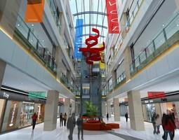 3d modern city shopping mall interior