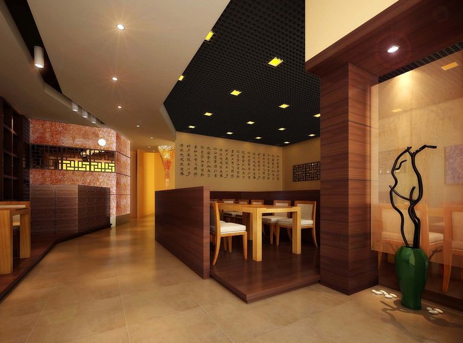 Architectural modern restaurant interior d model