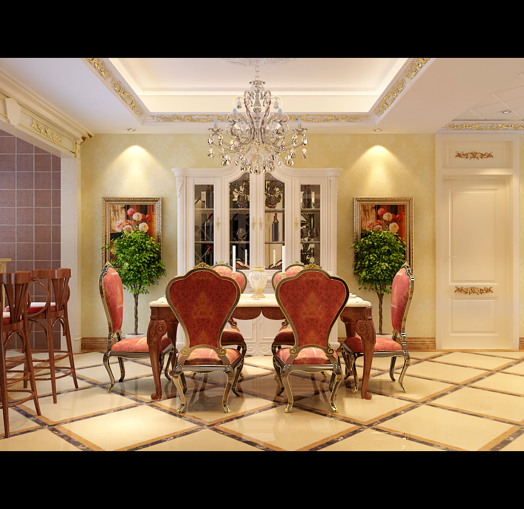 Collection collection modern dining room collection 3d for Dining room 3d model