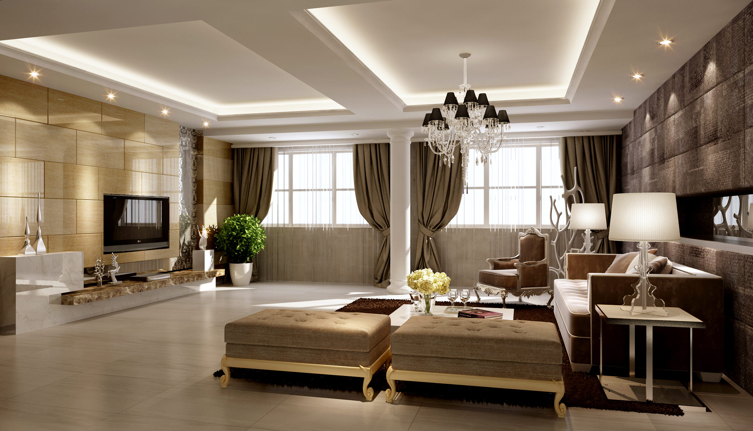 Collection living room and bedroom collection 4 3d model for 3d interior design of living room